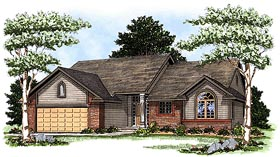 One-Story , Traditional House Plan 73333 with 2 Beds, 2 Baths, 2 Car Garage Elevation