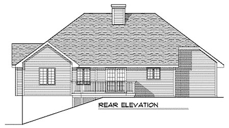 European, One-Story, Ranch House Plan 73335 with 2 Beds, 2 Baths, 2 Car Garage Rear Elevation