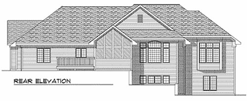 Traditional Rear Elevation of Plan 73336