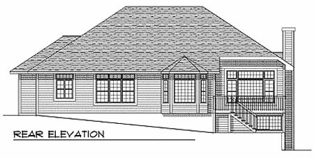 One-Story , Traditional , Rear Elevation of Plan 73341
