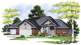 House Plan 73344 | European Style Plan with 1692 Sq Ft, 3 Bedrooms, 3 Bathrooms, 3 Car Garage Elevation