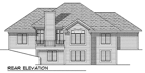 European One-Story Rear Elevation of Plan 73344