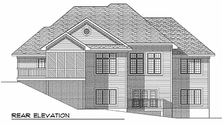 European House Plan 73345 Rear Elevation