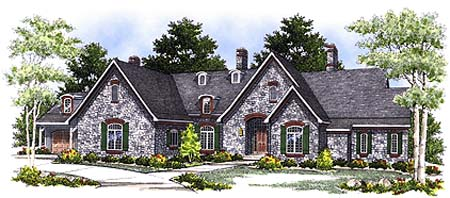 European, Tudor House Plan 73347 with 3 Beds, 3 Baths, 4 Car Garage Elevation