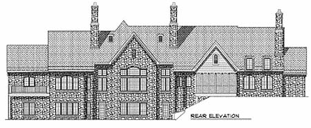 Tudor , European House Plan 73347 with 3 Beds, 3 Baths, 4 Car Garage Rear Elevation