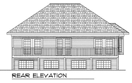 Traditional , Rear Elevation of Plan 73348