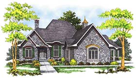 House Plan 73355 | European Style Plan with 2245 Sq Ft, 2 Bedrooms, 2 Bathrooms, 3 Car Garage Elevation