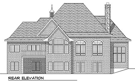 House Plan 73355 | European Style Plan with 2245 Sq Ft, 2 Bedrooms, 2 Bathrooms, 3 Car Garage Rear Elevation