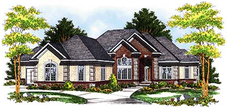 European, One-Story, Traditional House Plan 73358 with 2 Beds, 2 Baths, 4 Car Garage Elevation