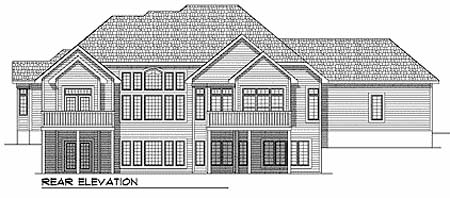 European, One-Story, Traditional House Plan 73358 with 2 Beds, 2 Baths, 4 Car Garage Rear Elevation