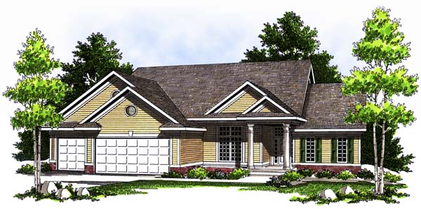 House Plan 73362 | Traditional Style Plan with 2120 Sq Ft, 2 Bedrooms, 2 Bathrooms, 3 Car Garage Elevation