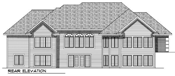 European, One-Story House Plan 73366 with 2 Beds, 2 Baths, 3 Car Garage Rear Elevation