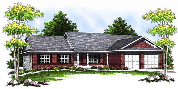 One-Story, Traditional House Plan 73367 with 4 Beds, 3 Baths, 2 Car Garage Elevation