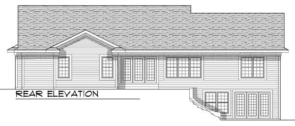One-Story, Traditional House Plan 73367 with 4 Beds, 3 Baths, 2 Car Garage Rear Elevation