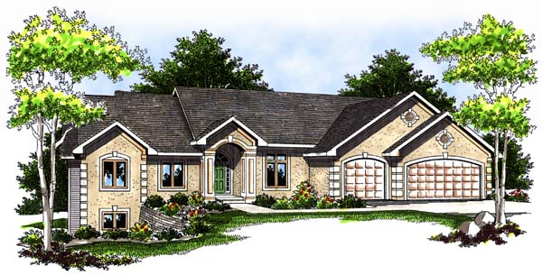 Traditional House Plan 73368 with 2 Beds, 3 Baths, 3 Car Garage Elevation