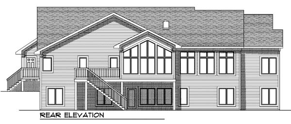 Traditional House Plan 73368 with 2 Beds, 3 Baths, 3 Car Garage Rear Elevation