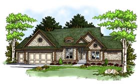 House Plan 73372 | Traditional Style Plan with 2269 Sq Ft, 2 Bedrooms, 2 Bathrooms, 3 Car Garage Elevation