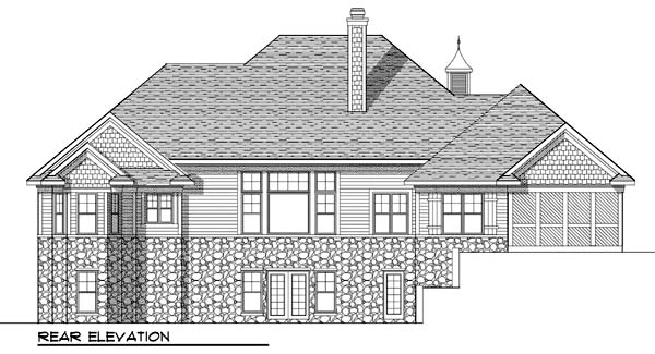 European Ranch House Plan 73374 Rear Elevation