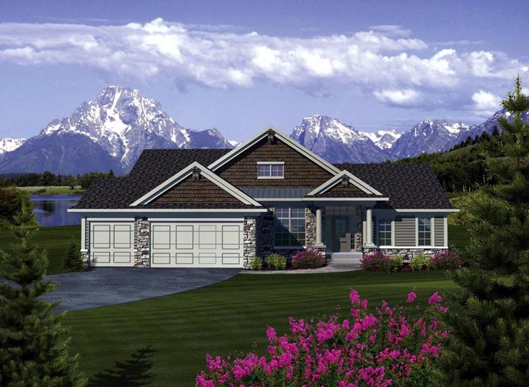 Ranch Elevation of Plan 73376