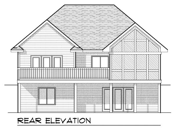 Traditional House Plan 73379 with 2 Beds, 2 Baths, 2 Car Garage Rear Elevation
