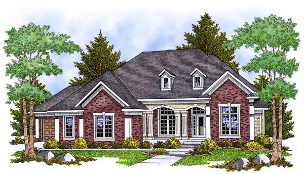 One-Story, Traditional House Plan 73385 with 2 Beds, 2 Baths, 3 Car Garage Elevation