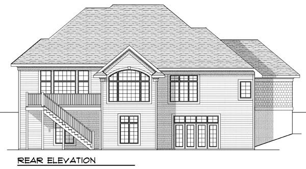One-Story Rear Elevation of Plan 73386