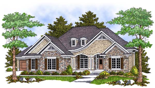 One-Story, Tudor House Plan 73387 with 2 Beds, 2 Baths, 2 Car Garage Elevation