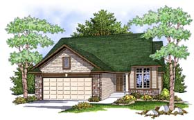House Plan 73391 | Ranch Traditional Style Plan with 1334 Sq Ft, 2 Bedrooms, 2 Bathrooms, 2 Car Garage Elevation