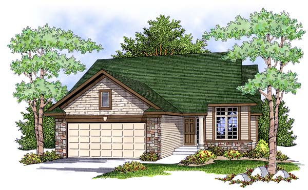 One-Story, Ranch, Traditional House Plan 73391 with 2 Beds, 2 Baths, 2 Car Garage Elevation