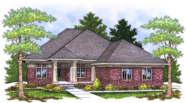 One-Story, Traditional House Plan 73392 with 2 Beds, 2 Baths, 3 Car Garage Elevation