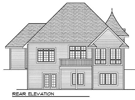 European Tudor Victorian House Plan 73399 Rear Elevation