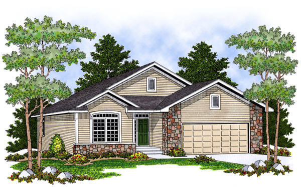 House Plan 73400 | Traditional Style Plan with 1385 Sq Ft, 2 Bedrooms, 2 Bathrooms, 2 Car Garage Elevation