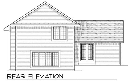 Traditional House Plan 73401 with 3 Beds, 3 Baths, 2 Car Garage Rear Elevation