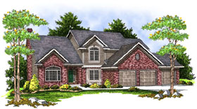 Traditional House Plan 73402 with 4 Beds, 3 Baths, 3 Car Garage Elevation