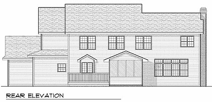 Traditional House Plan 73402 with 4 Beds, 3 Baths, 3 Car Garage Rear Elevation