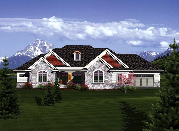 Ranch House Plan 73403 with 2 Beds, 2 Baths, 3 Car Garage Elevation