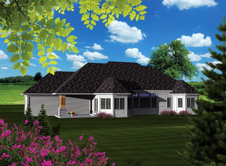 Ranch House Plan 73403 with 2 Beds, 2 Baths, 3 Car Garage Rear Elevation