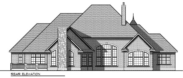 European Tudor House Plan 73406 Rear Elevation