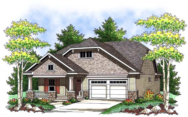 House Plan 73409 | Craftsman Style Plan with 1372 Sq Ft, 2 Bedrooms, 2 Bathrooms, 2 Car Garage Elevation