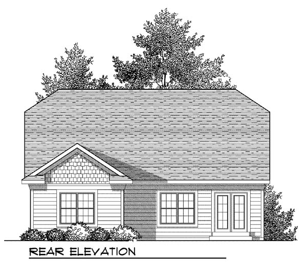 House Plan 73409 | Craftsman Style Plan with 1372 Sq Ft, 2 Bedrooms, 2 Bathrooms, 2 Car Garage Rear Elevation