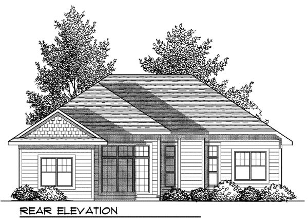 Craftsman House Plan 73414 with 3 Beds, 2 Baths, 2 Car Garage Rear Elevation
