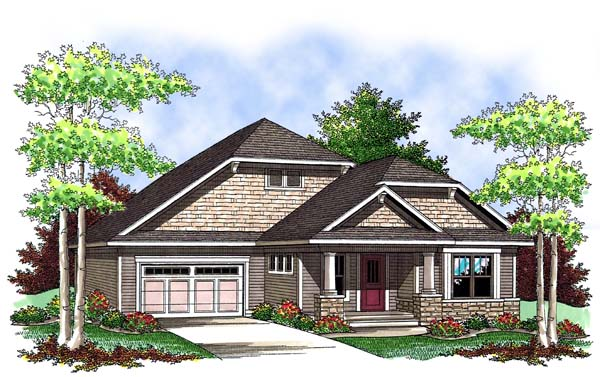 Craftsman, One-Story House Plan 73416 with 2 Beds, 2 Baths, 2 Car Garage Elevation