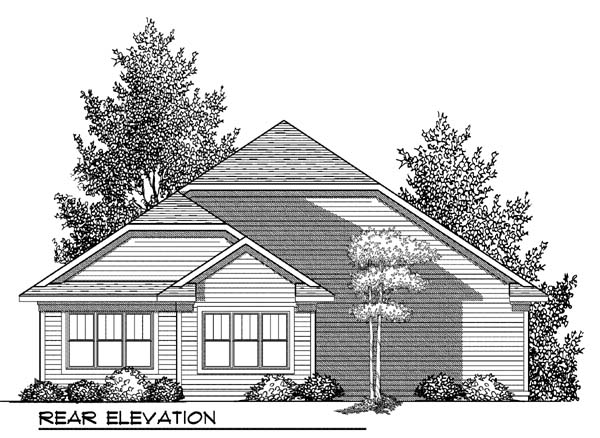 Craftsman, One-Story House Plan 73416 with 2 Beds, 2 Baths, 2 Car Garage Rear Elevation