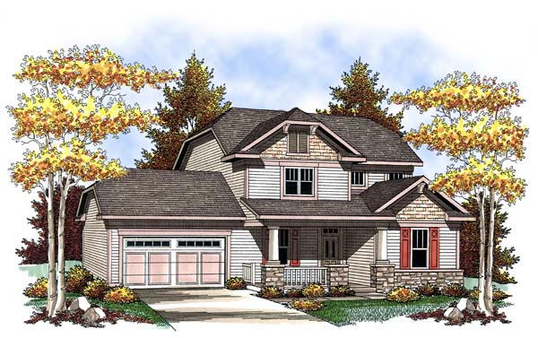 Country Craftsman Elevation of Plan 73419