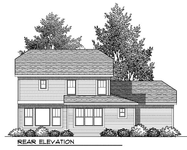Country Craftsman Rear Elevation of Plan 73419