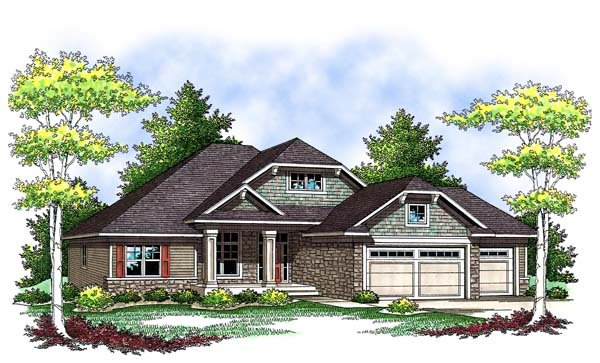 Craftsman, One-Story, Traditional House Plan 73420 with 3 Beds, 2 Baths, 3 Car Garage Front Elevation
