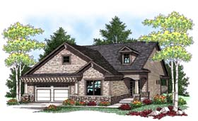 House Plan 73423 | Traditional Style Plan with 1580 Sq Ft, 2 Bed, 2 Bath, 2 Car Garage Elevation
