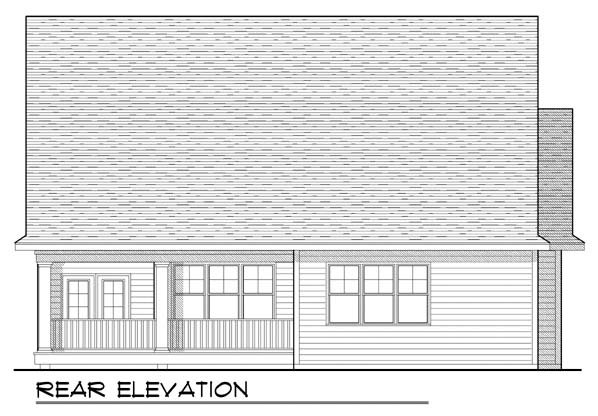 House Plan 73423 | Traditional Style Plan with 1580 Sq Ft, 2 Bed, 2 Bath, 2 Car Garage Rear Elevation