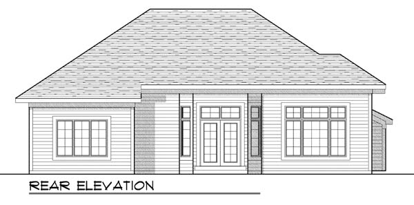 House Plan 73424 | Traditional Style Plan with 1646 Sq Ft, 3 Bedrooms, 2 Bathrooms, 2 Car Garage Rear Elevation