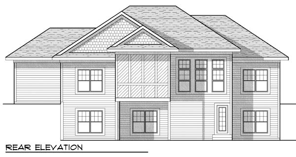 One-Story Traditional Rear Elevation of Plan 73425